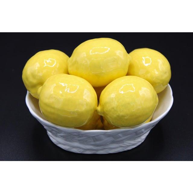 Yellow Italian Ceramic Lemon Basket For Sale - Image 8 of 9