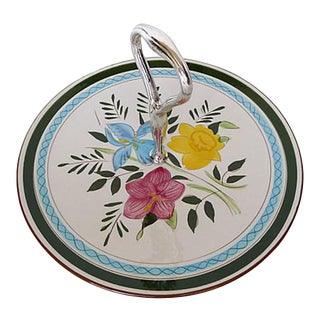 Midcentury Stangl Pottery Tidbit Tray, Country Garden Design, Serving Plate With Handle For Sale