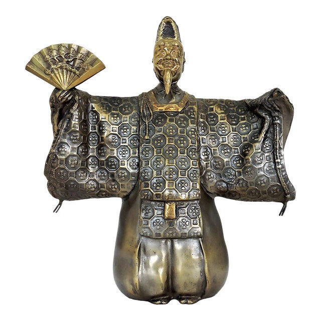 Vintage Japanese Brass 'Noh' Figure/Okimono Statue With Okina Mask For Sale