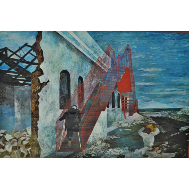 "Ben Shahn Vintage 1940's Framed Print of Ben Shahn's ""The Red Stairway"" For Sale - Image 4 of 8"