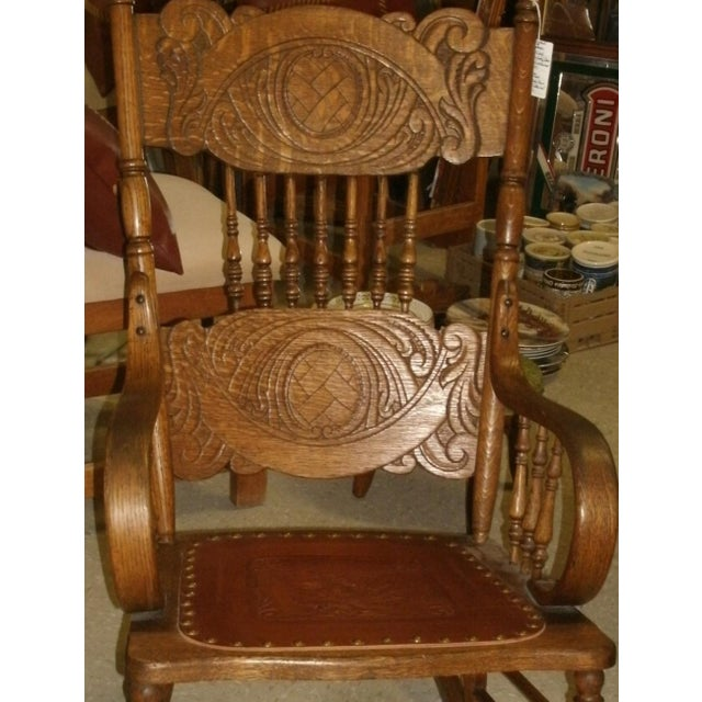 Antique Larkin Soap Company Ribbon Back Oak Rocking Chair For Sale - Image 11 of 13