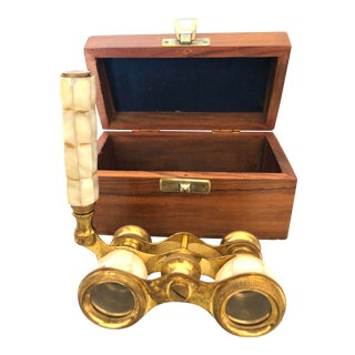 Vintage Pearl and Brass Opera Glasses in Wooden Case For Sale