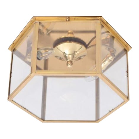 Pair of Brass and Glass Flush Mounts or Light Fixture from a German Library For Sale