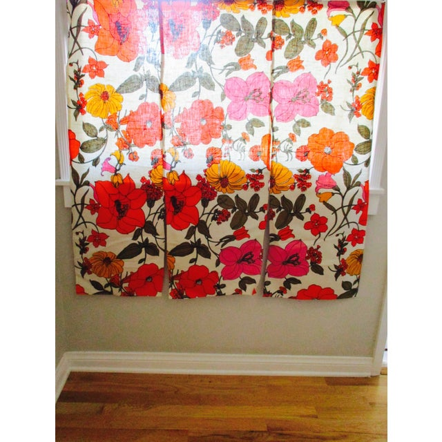Fabric Vintage Swedish Flower Wall Panels Curtains Textile - Set of 4 For Sale - Image 7 of 10