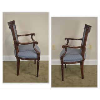 Regency Style Vintage Pair of Carved Mahogany Blue Upholstered Arm Chairs Preview