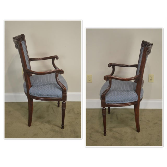 *STORE ITEM #: 19052 Regency Style Vintage Pair of Carved Mahogany Blue Upholstered Arm Chairs AGE / ORIGIN: Approx. 60...