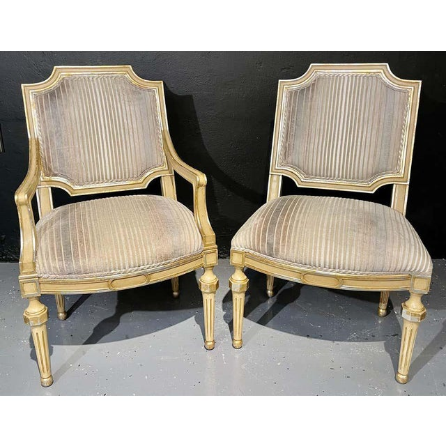 Set of Eight Louis XVI Style Dining Chairs Painted and Parcel-Gilt, Jansen Style For Sale - Image 12 of 13