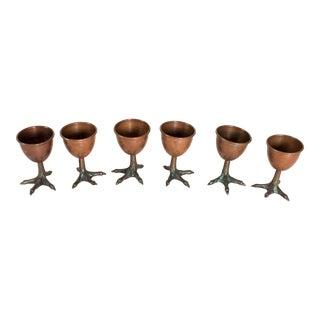 Vintage Copper Birds Feet Shot Glasses For Sale