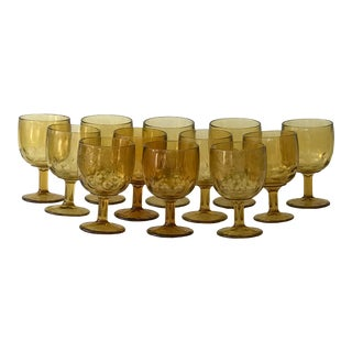 Vintage Indiana Glass Amber Thumbprint Goblets - Set of 12 For Sale
