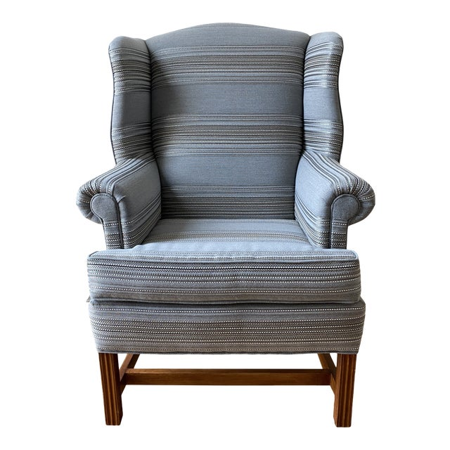 1970s Gray Stripe Wingback Chair For Sale