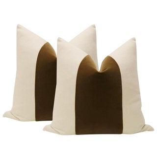 "22"" Chestnut Brown Velvet Panel & Linen Pillows - a Pair"