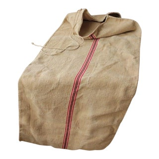 Red and Green Stripe Washed Linen Grain Sack For Sale