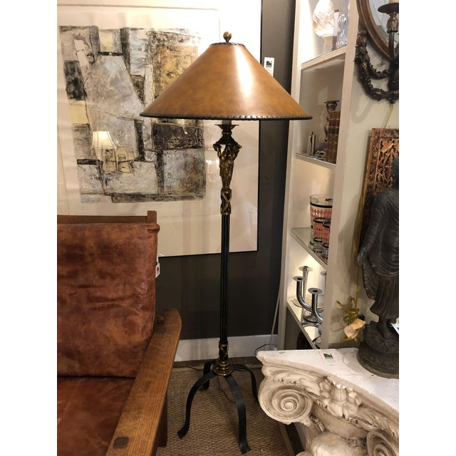 Neoclassical Style Black and Gold Floor Lamp With Leather Shade For Sale - Image 9 of 9