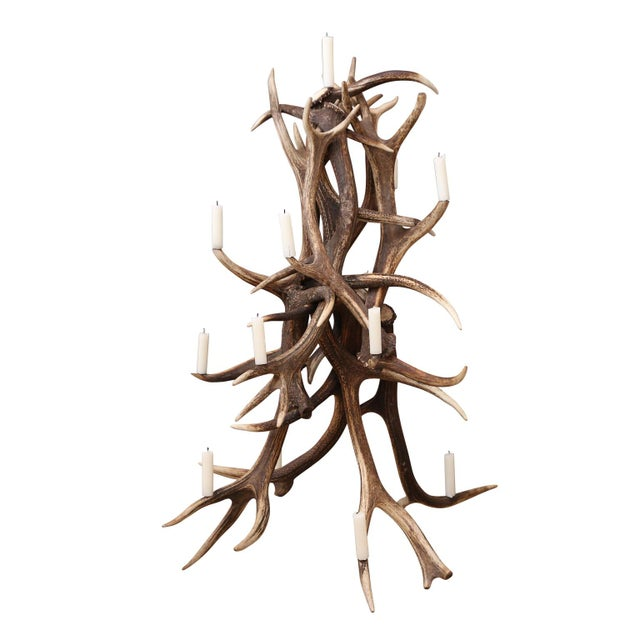 Red stag antler tree-shape candelabra. Tree has metal prickets for candles (can also be electrified). Would make an...