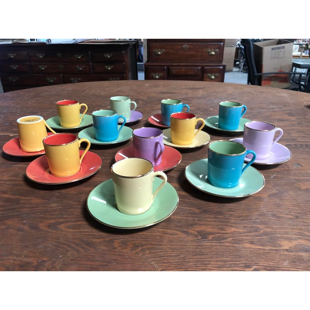 Multi-Colored Apilco Demitasse / Espresso Cups by Yves Deshoulieres, Made in France - Set of 12, 24 Pieces For Sale - Image 9 of 10
