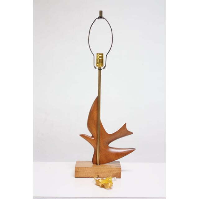 Hansen Lighting Co. Maple and Mahogany 'Dove' Lamp by Clark Voorhees for Hansen For Sale - Image 4 of 12
