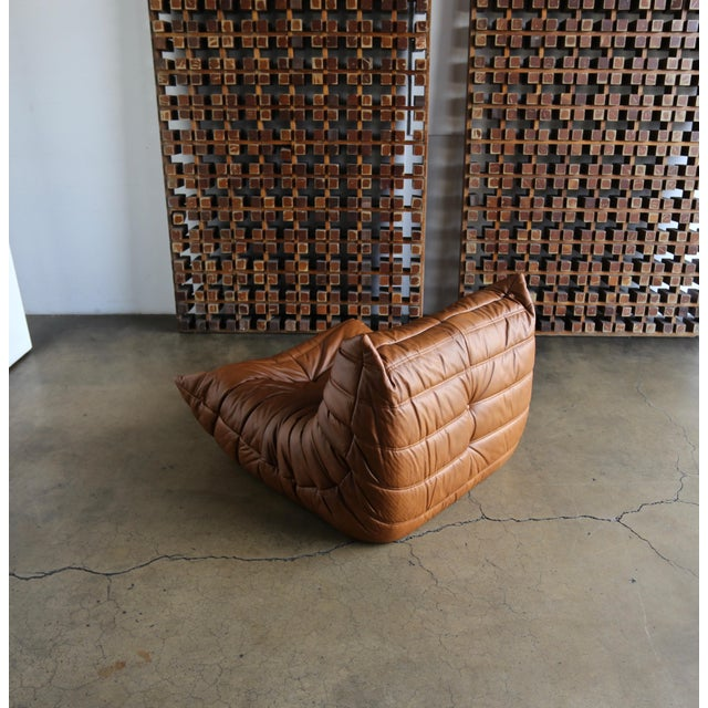 """Michel Ducaroy for Ligne Roset """"Togo"""" Leather Lounge Chairs - a Pair For Sale - Image 9 of 13"""