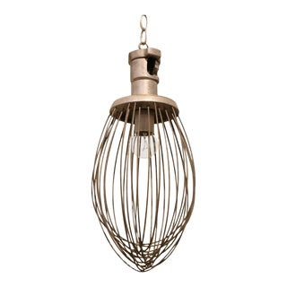 Pendant Light Fixture from Vintage Bakery Whisk For Sale