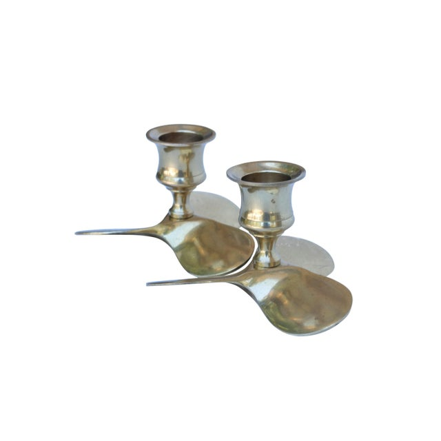 Art Deco Brass Propeller Candle Holders, a Pair For Sale - Image 3 of 6