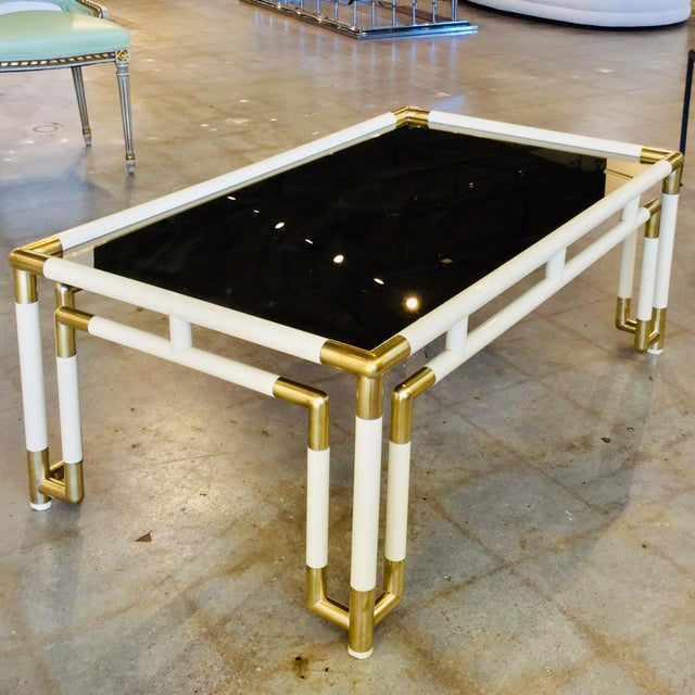 Brass Hollywood Regency Acrylic and Mirrored Coffee Table For Sale - Image 8 of 8