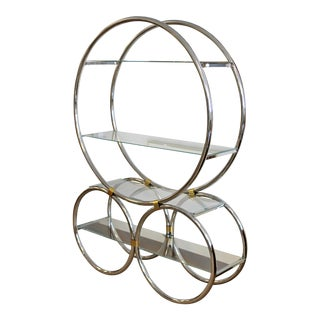 Art Deco Modern Chrome Glass & Brass Circular Shelving Unit Etagere For Sale