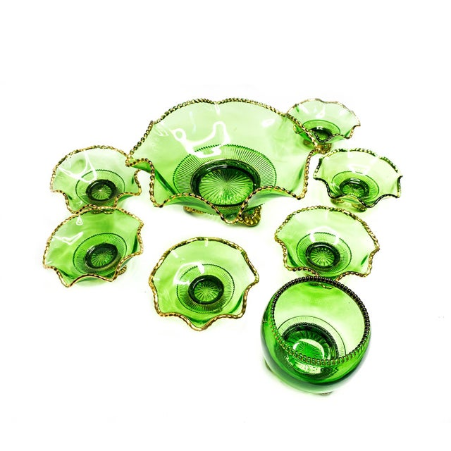 1950s Vintage Mid-Century Russian Green Hand Blown Glass & Gold Detailed Serving Bowl Set of 8 For Sale - Image 5 of 5