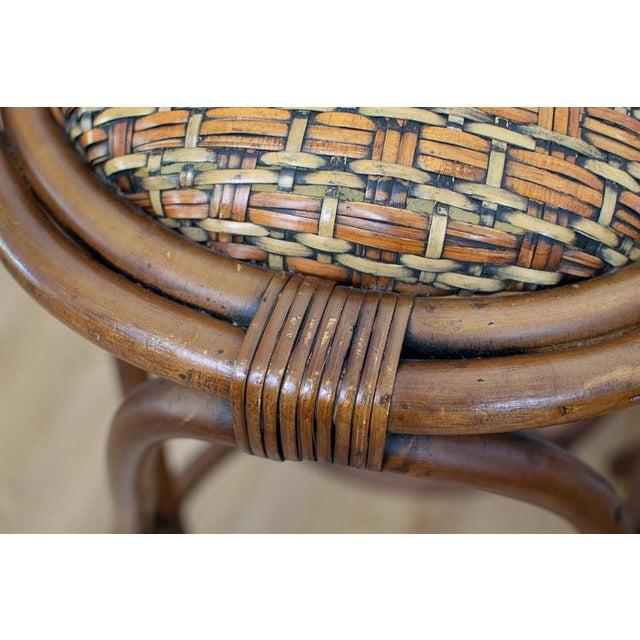 Rattan Vintage Mid-Century Twisted Wood Rattan Stools - A Pair For Sale - Image 7 of 10