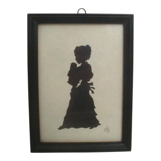 Scissor Cut Black & White Silhouette of Woman and Baby For Sale