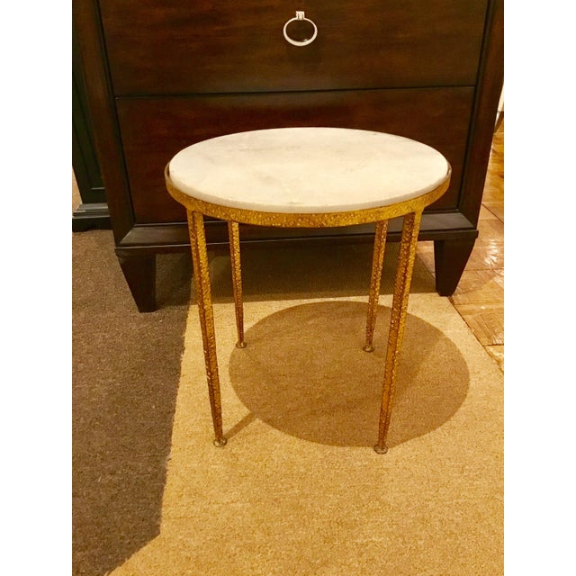 Arteriors Round Hammered Metal Table For Sale In Atlanta - Image 6 of 6