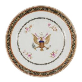 Pair of American (19th Cent Chinese Export) dinner plates having a centered decorated American eagle crest with a black...