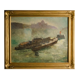 """Early 20th Century """"Towboat"""" Nautical Oil Painting by Pal Fried, Framed For Sale"""