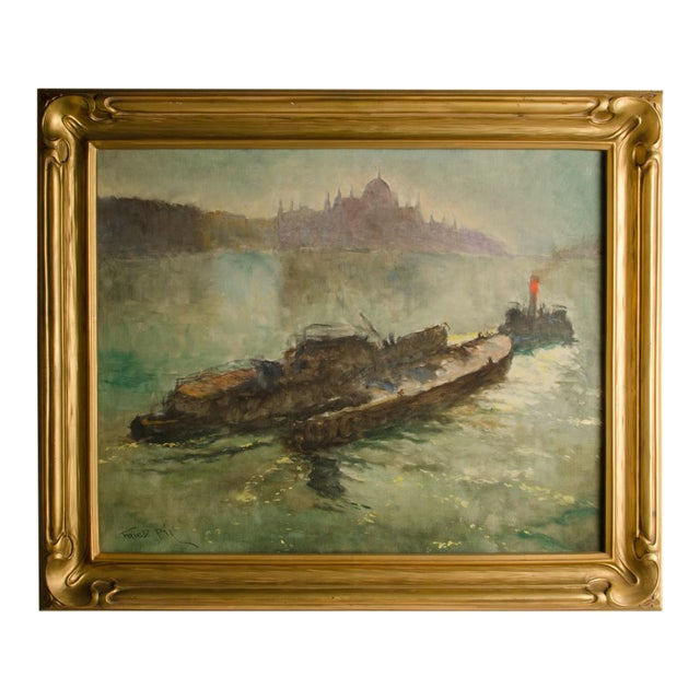 "Early 20th Century ""Towboat"" Nautical Oil Painting by Pal Fried, Framed For Sale"