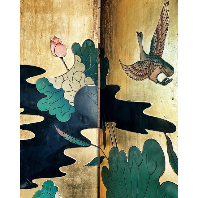 """Asian room divider Lacquered in brilliant gold Vintage 1950's 72"""" x 64"""" x .87"""" Double-sided: gold on front, black on back..."""