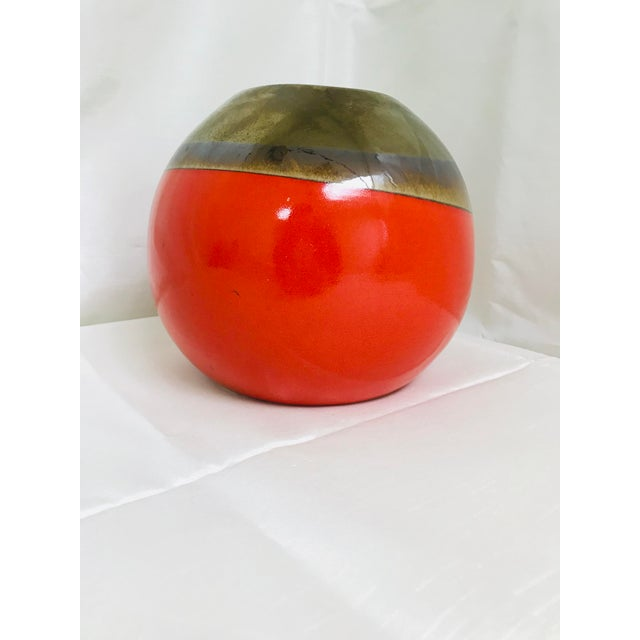 Contemporary Orange Hand Made Round Table Vase For Sale - Image 4 of 8