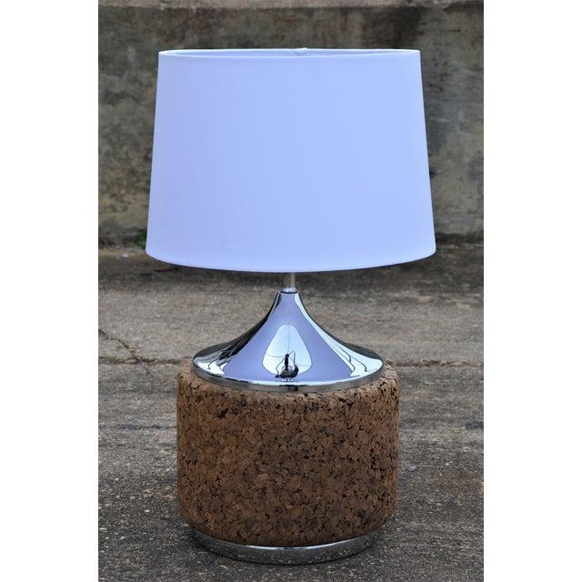 1960s Vintage Laurel Mid-Century Modern Cork & Chrome Table Lamp For Sale - Image 9 of 9