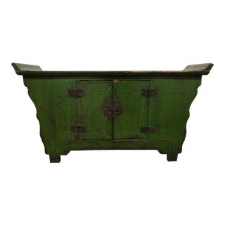 Asian Distressed Green Lacquered Console For Sale