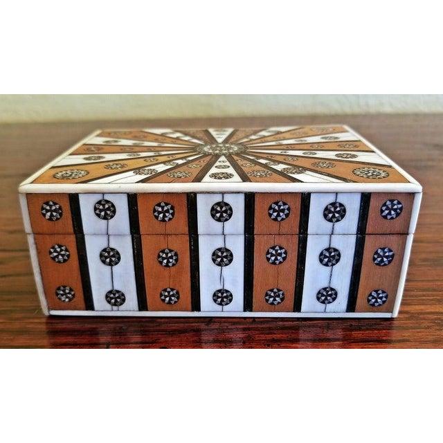 Wood 19th Century Anglo Indian Vizagapatam Sunburst Pattern Rectangular Box For Sale - Image 7 of 8