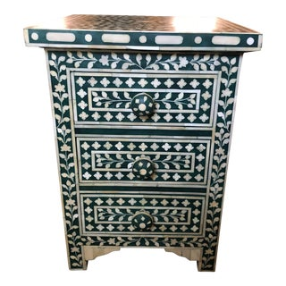 Moroccan Anthropologie Green Bone Inlay Side Table