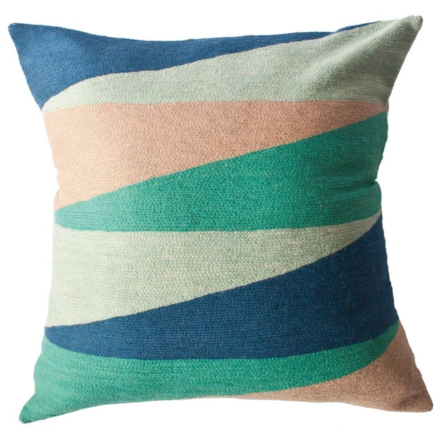 Modern Zimbabwe Landscape Spring Hand Embroidered Modern Geometric Throw Pillow For Sale - Image 3 of 3