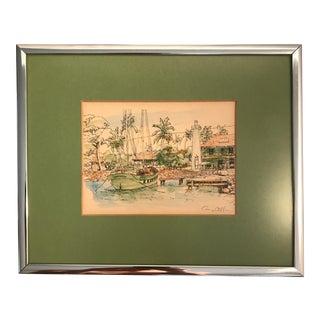 """Original Artist Signed """"Key West"""" Pen & Ink Print"""