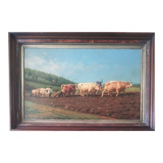 """Late 19th Century """"Driving the Plow Team"""" Bucolic Landscape Oil Painting by Albert Guard, Framed For Sale"""