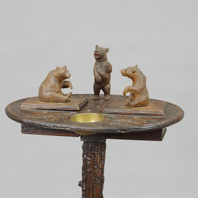 A Nice Black Forest Carved Smoking Side Table With Bears For Sale - Image 10 of 11
