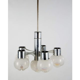 1970s Gaetano Sciolari Chrome and Murano Glass Globe 6 Light Chandelier Preview