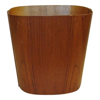 20th Century Danish Teak Wastebasket For Sale