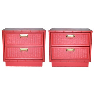 Coral Faux-Bamboo and Rattan Nightstands - Pair