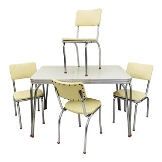 Vintage White Vinyl Dinette Set For Sale