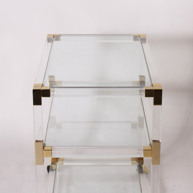 French Lucite, glass & brass 3 tier table / dry bar, c. 1970