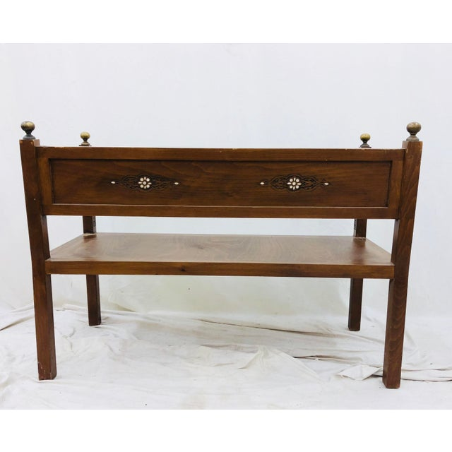 Antique Pearl & Brass Detail Wooden Bench For Sale - Image 11 of 12