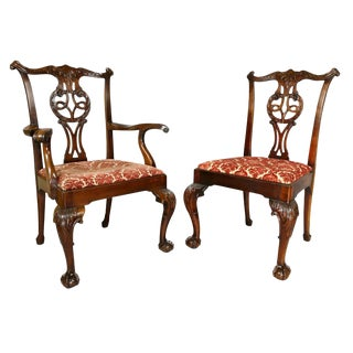 Set of Eight Waring And Gillow George III Style Mahogany Dining Chairs For Sale
