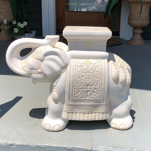 Cream happy elephant good luck ceramic garden stool or side table. Featuring Chinese symbols glazed in a cream white glaze...